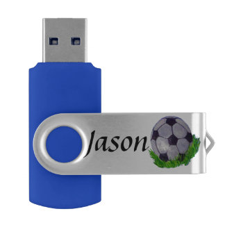 Custom soccer ball sitting on grass USB flash drive