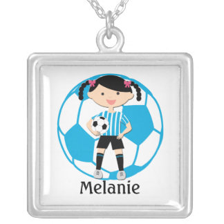 Custom Soccer Girl 2 and Ball Blue | White Stripes Silver Plated Necklace