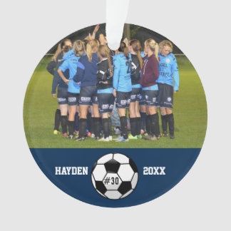 Custom Soccer Photo Collage Name Team Number Ornament