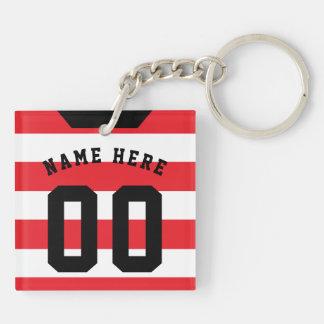 Custom Soccer Rugby Jersey Keyring, Red Stripes Key Ring