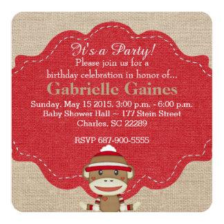 Custom Sock Monkey Birthday Party Invitation