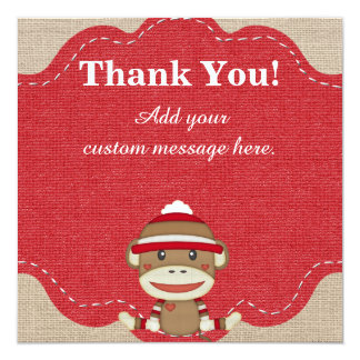 Custom Sock Monkey Party Gift Thank You Card 13 Cm X 13 Cm Square Invitation Card