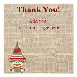 Custom Sock Monkey Party Gift Thank You Card 13 Cm X 13 Cm Square Invitation Card