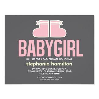 Custom socks baby girl 11 cm x 14 cm invitation card