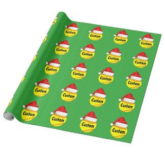 Custom Softball Santa Hat Christmas Wrapping Paper