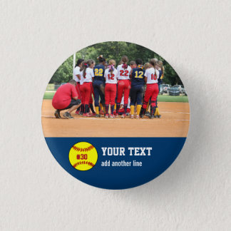 Custom Softball Team or Player Photo Name Number 3 Cm Round Badge