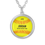 Custom Softball with Player Name, Number, Team Round Pendant Necklace