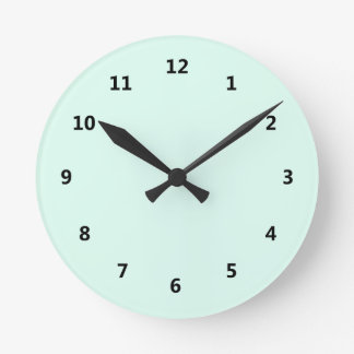 Custom Solid Light Mint Green Color Round Clock