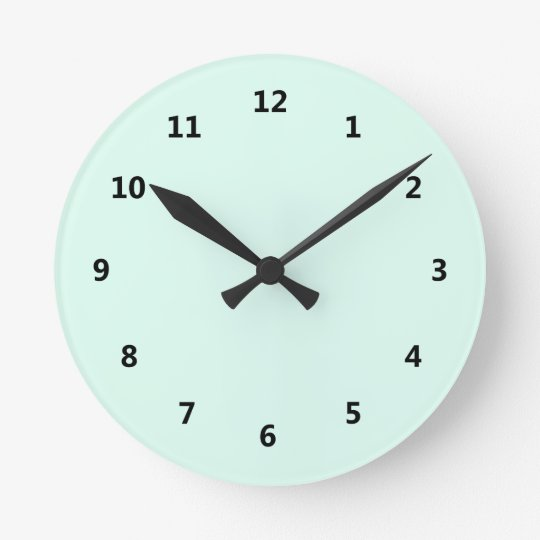 Custom Solid Light Mint Green Colour Round Clock