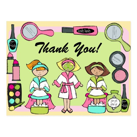 Custom Spa Party Birthday Thank You Postcard