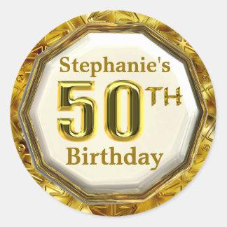 Custom Sparkling Gold 50th Birthday Stickers