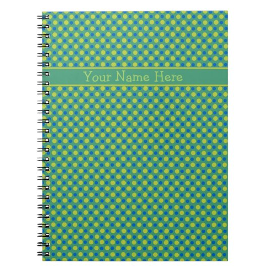 Custom Spiral Notebook, Blue and Green Polka Dots Notebooks