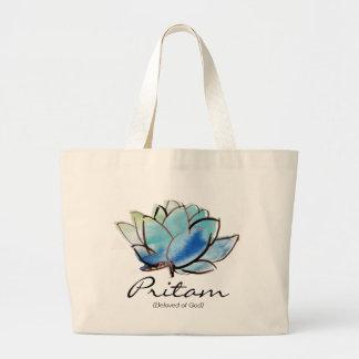 Custom Spiritual Name Bag: Blue Lotus Design Large Tote Bag