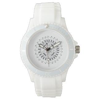 Custom Sporty White Silicon mandala design Watch