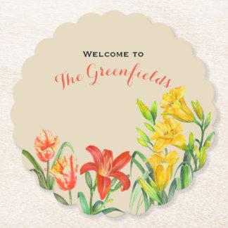 Custom Spring Flowers Floral Art Paper Coaster