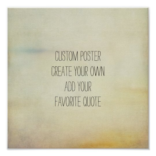 custom square poster add your quote vintage style