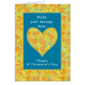 Custom St Dwynwen's Day Daffodils Heart, English Greeting Cards
