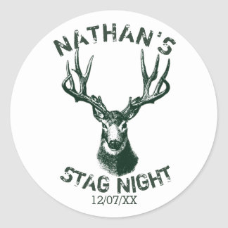 Custom Stag Night Antlers Classic Round Sticker