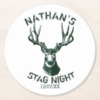 Custom Stag Night Antlers Round Paper Coaster