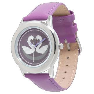 Custom Stainless Steel Purple LOVE SWANS Watch