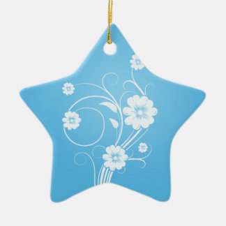 Custom Star Ornaments White Flowers On Blue
