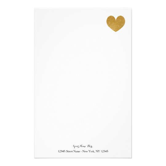 Custom stationery paper with gold glitter heart