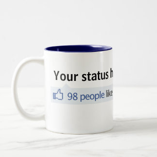 Custom Status Facebook thumbs up Two-Tone Coffee Mug