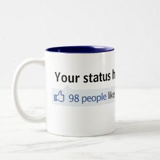 Custom Status Facebook thumbs up Two-Tone Mug