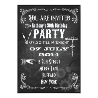 Custom Steampunk Chalkboard Birthday Party Invite