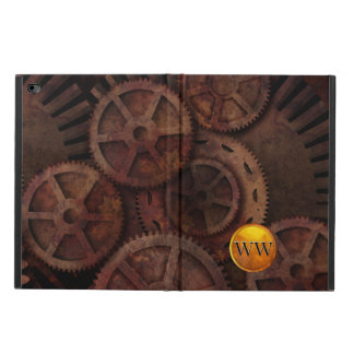 Custom Steampunk Gears and Brass Monogram Powis iPad Air 2 Case
