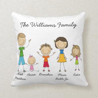 Custom Stick Figure Family Pillow