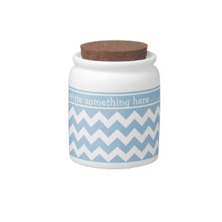 Custom Storage Jar, Blue and White Chevrons Candy Dishes