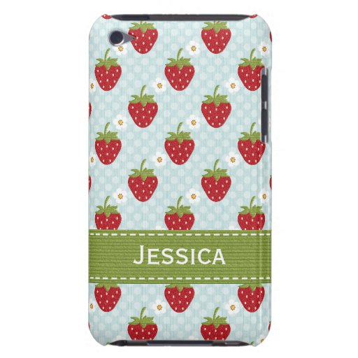 Custom Strawberry iPod Touch 4th Gen Case Blue iPod Touch Cover