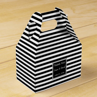 Custom Striped Black and White Wedding Favour Box