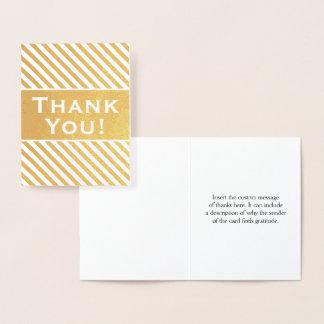 "Custom, Striped Gold Foil ""Thank You!"" Card"