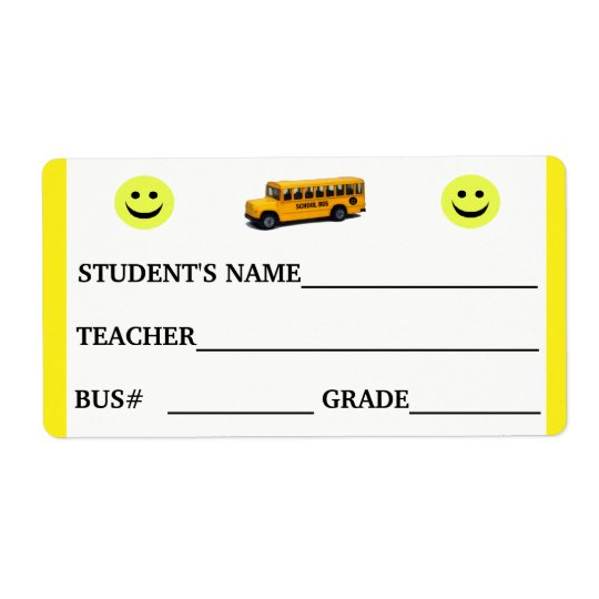 Custom Student ID and Bus Number Sticker Shipping Label