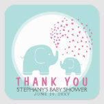 Custom Stylish Blue Elephants Thank You Stickers