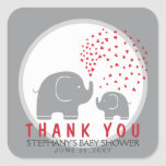 Custom Stylish Grey Elephants Thank You Stickers