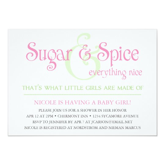 Custom Sugar and Spice Baby Girl Shower Invitation