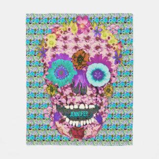 Custom Sugar Skull Flower Blanket
