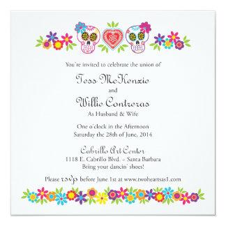 Custom Sugar Skulls and Flowers - Purple Bkgnd 13 Cm X 13 Cm Square Invitation Card