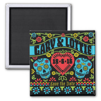 Custom Sugar Skulls Save the Date Magnet
