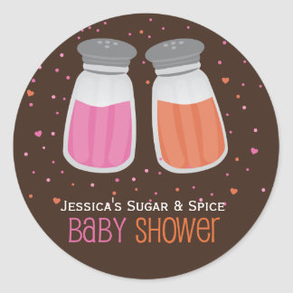 Custom Sugar & Spice Shakers Baby Shower Stickers