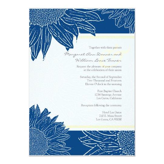 custom::Sunflower Wedding Invite: Yellow 106 Navy Card