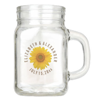 Custom Sunflower Wedding Mason Jar