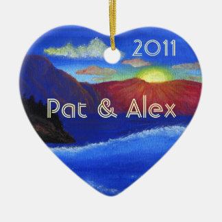 CUSTOM Sunset Honeymoon Ceramic Heart Decoration