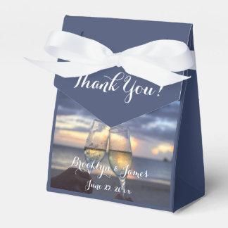 Custom Sunset On Beach Blue Wedding Favor Boxes