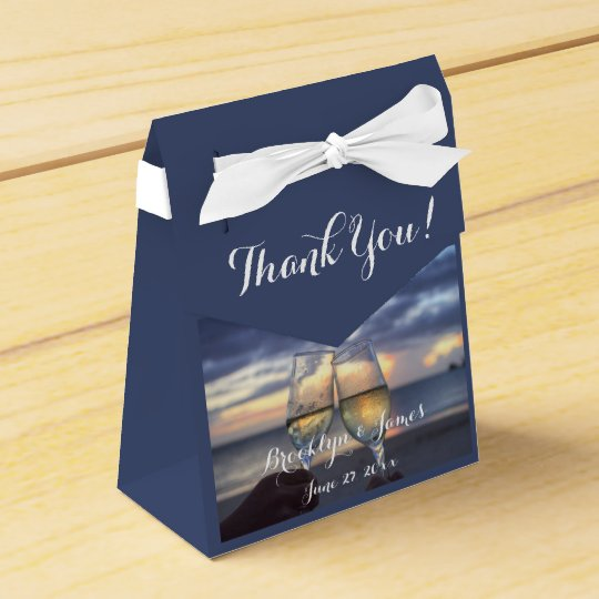 Custom Sunset On Beach Blue Wedding Favour Boxes