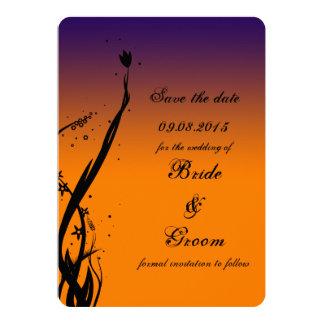Custom sunset silhouette save the date card