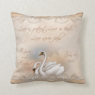 Custom Swan Wedding Pillow